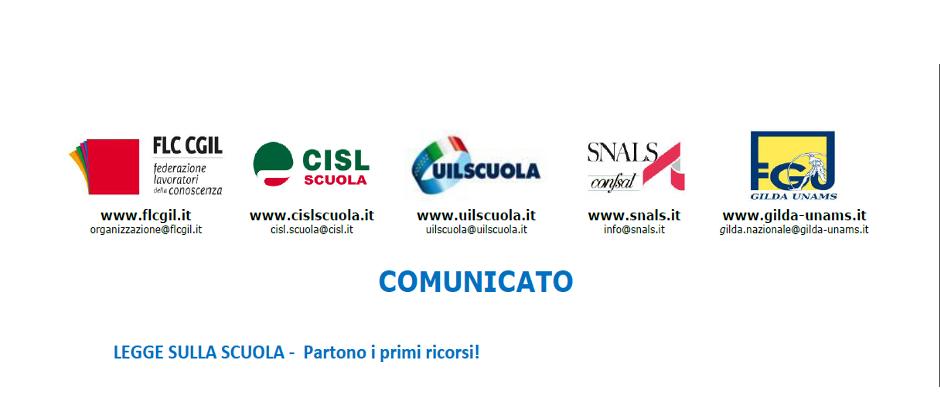 COMUNICATO UNITARIO - LEGGE 107 - Partono i primi ricorsi!